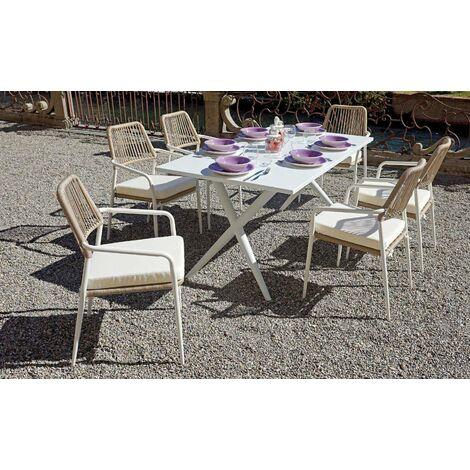 Set de 2 sillas apilables de aluminio blanco con reposabrazos | Beige