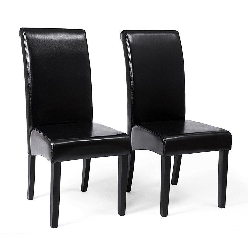 Set de 2 Sillas de Comedor con Respaldo Alto, Asiento Acolchado Tapizado en  Piel, Patas de Madera Maciza, Negro/Beige