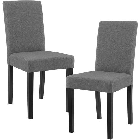 """main image of """"Set de 2 sillas de comedor tapizadas de tela gris - 90 x 42cm sillas de diseño"""""""