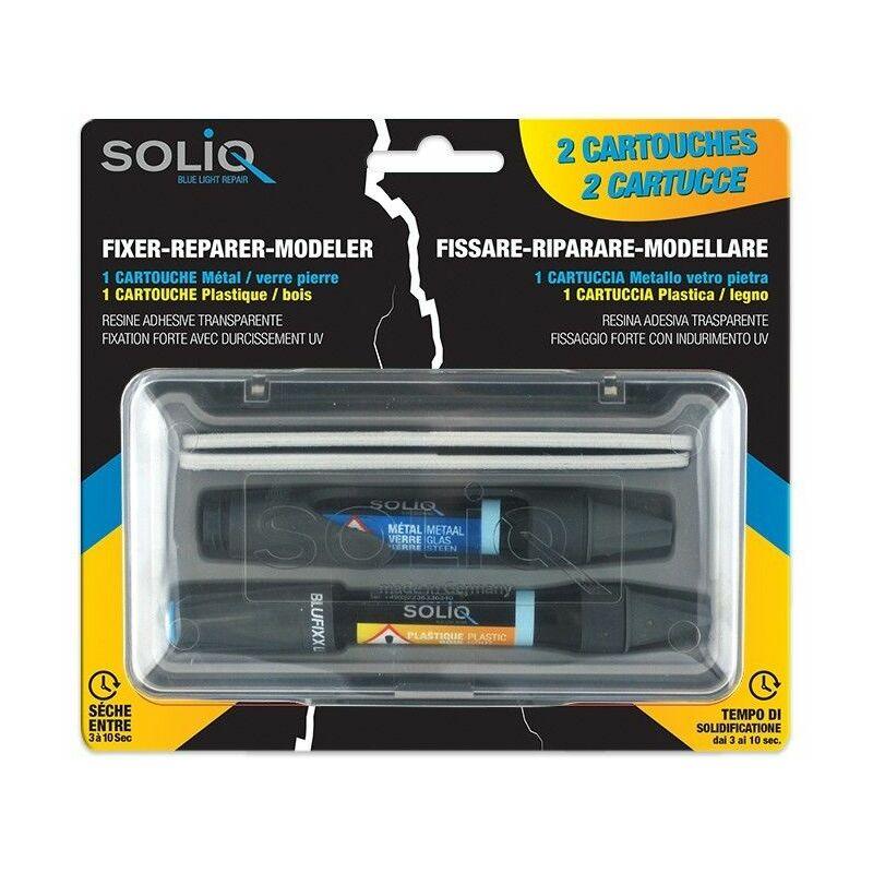 Set de 2 stylos de réparation avec cartouches résine SOLIQ BLUE LIGHT REPAIR
