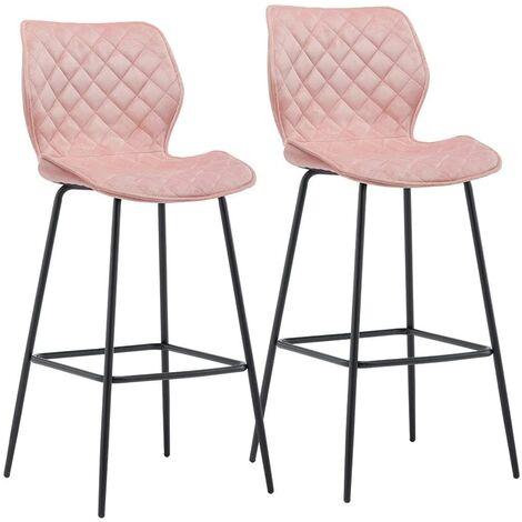 Set de 2 tabourets de bar avec dossier en velours rose repose pieds - Rose