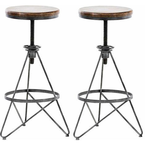 Set de 2 tabourets de bar en métal argenté style industriel réglable repose-pieds - argentéer