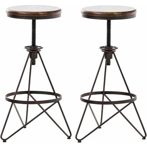 Set de 2 tabourets de bar en métal bronze style industriel réglable repose-pieds - noir