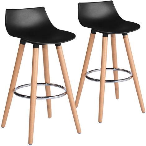 Set de 2 taburetes de bar escandinavo de madera de plástico negro