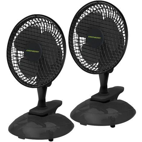 Set de 2 ventilateurs de table, noir, pinces VENETO -15B