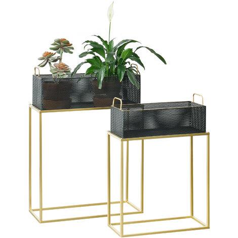 Set de 2 x Soportes de Flores Jurbise - con Macetero - Estantes para plantas - Estilo decorativo - Accesorio Hogar - Metal - Cobre amarillo y Negro