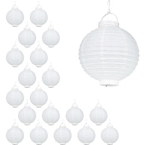 Set de 20 farolillos LED, Funcionamiento con pilas, Interior y exterior, Colgante, Lámpara de papel, Blanco, Ø 20 cm
