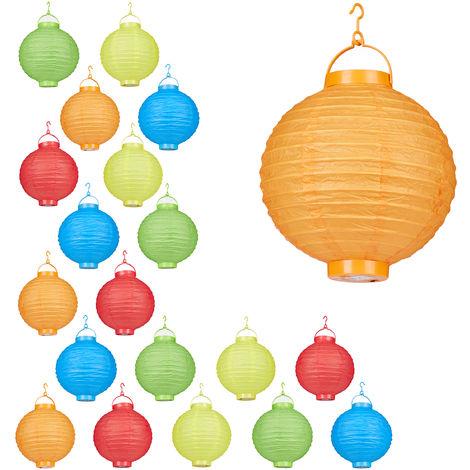 Set de 20 farolillos LED, Funcionamiento con pilas, Interior y exterior, Colgante, Lámpara de papel, Multicolor, Ø 20 cm