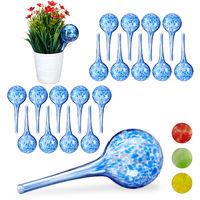 Set de 20 globos de riego, Sistema de riego para plantas, Vacaciones, Ø 6cm, Azul, Vidrio