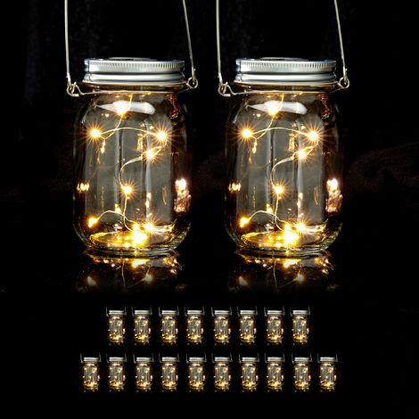 Set de 20 lámparas solares, 8 LEDs por farol, De pie o colgante, Iluminación para jardín, Transparente
