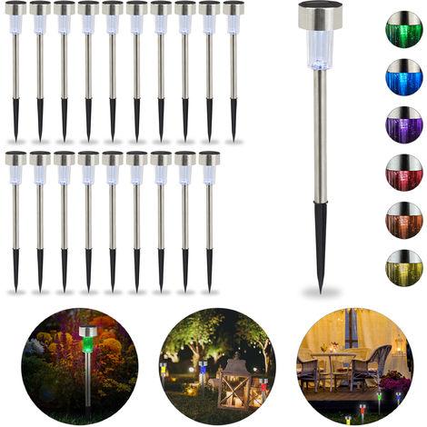 Set de 20 lámparas solares, LED impermeables, Iluminación de exterior, Acero inoxidable, Cambio de color, Plateado