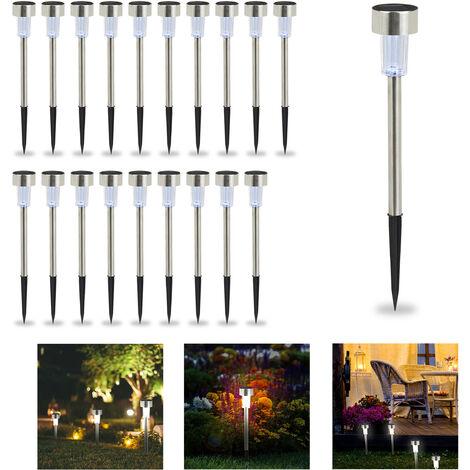 Set de 20 lámparas solares, LED impermeables, Iluminación de exterior, Acero inoxidable, Luz blanca, Plateado