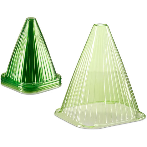 Set de 24 mini invernaderos para plantas, Protección contra el frío, caracoles y aves, PVC, Verde