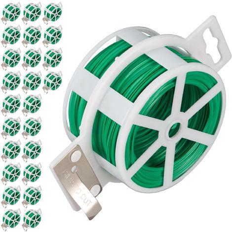 Set de 25 carretes de alambre, Alambre para atar plastificado, Bobina con cortador, Inoxidable, 50m, Verde