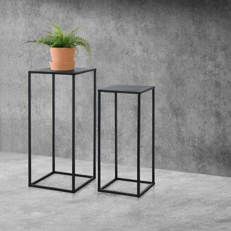 Set de 2x Mesa Auxiliar - 70x30x30cm y 60x25x25cm - Mesa de centro - Estructura de metal - Mesa de té - Mesa de Café - Para Macetas - Resistente a los arañazos - Negro