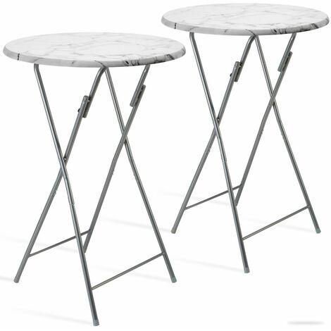 Set de 2x Table haute pliable aspect marbre Ø60cm plateau table de jardin bar