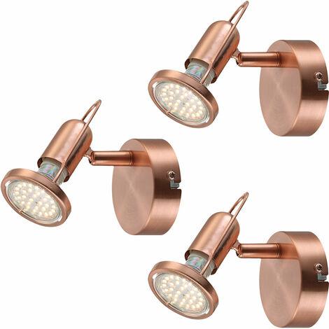 Set de 3 Appliques Murales LED Salle à Manger Projecteurs de Spot Spot Luminaires en Cuivre Swivel