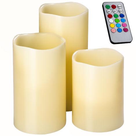 """main image of """"Set de 3 Bougies à LED d'Ambiance Multicolore en Cire Véritable + 1 Télécommande"""""""