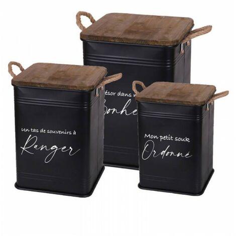 Set de 3 Caisses de Rangement Métal Noir - LOFT
