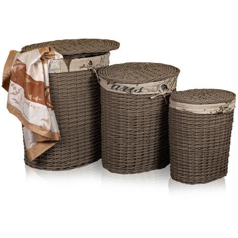 SET de 3 cestas de lavandería caja de lavandería Gris Baúl de lavandería recipiente de lavandería ropa cesta de ropa cesta de almacenaje
