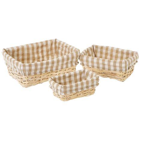 Set de 3 cestas de mimbre y tela marrón y beige de cuadros vichy