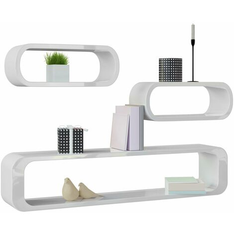 Estantería de pared Set en estilo retro–Estante Diseño Cube Estantería Estante 452097–Modelo Selección Blanco