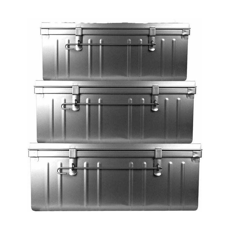 Pierre Henry - Set de 3 malles en acier Habitat 80 - 90 et 100 cm alu - Alu