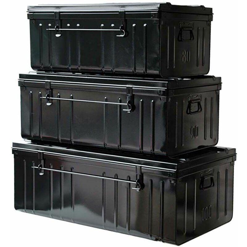 Set de 3 malles en acier Habitat 80 - 90 et 100 cm noir - Noir