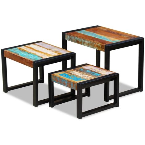 Set de 3 mesas auxiliares madera maciza reciclada