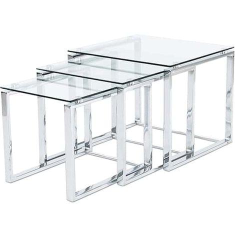 Set de 3 mesas nido Benetto - Cromado-transparente