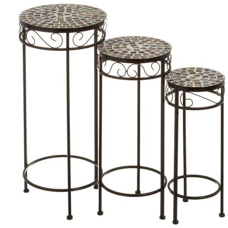 Set de 3 mesitas de jardín para plantas rústicas de metal ycerámica negras