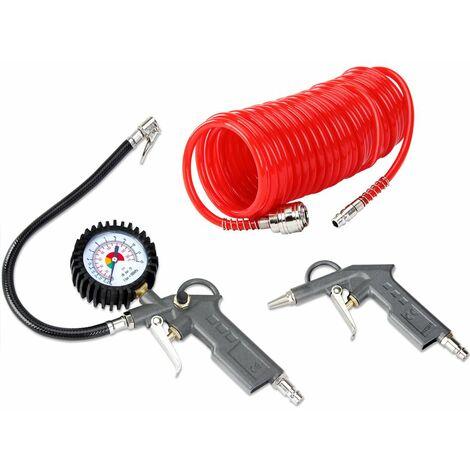 Set de 3 piezas para todos los compresores comunes pistola de aire comprimido manguera 5 metros 12bar inflador de neumáticos