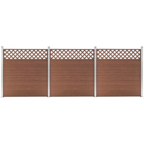 Set de 3 vallas cuadradas WPC marrón 526x185 cm