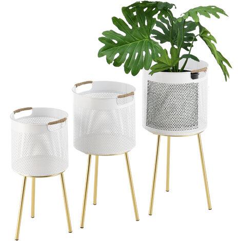 Set de 3 x Soportes de Flores Gerpinnes - con Macetero - Estantes para plantas - Estilo decorativo - Accesorio Hogar - Metal - Cobre amarillo y Blanco