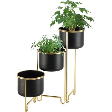 Set de 3 x Soportes de Flores Plegable Fleurus - 55 x 68 x 22,5 cm - con Macetero - Estantes para plantas - Estilo decorativo - Accesorio Hogar - Metal - Cobre amarillo y Negro