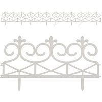 Set de 4 bordures de jardin blanc - Délimitation jardin fleurs - 59,5x31,5