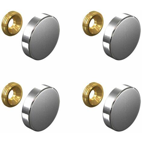 Set de 4 caches vis Inox 24 mm - Fixation signalétique