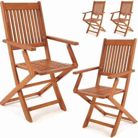 """Set de 4 chaises de jardin pliantes """"Sydney"""" en bois d'acacia certifié FSC pour salon de jardin sydney accoudoirs extérieur pliable chaise de table de jardin pré-huilé balcon terrasse"""