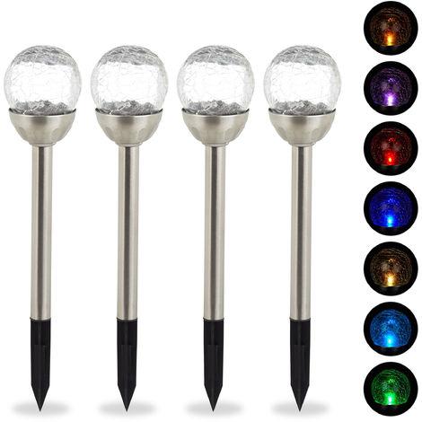 Set de 4 lámparas solares, Farolas LED, Cambio de color, Estaca para suelo, Plateado