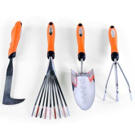 Set de 4 outils de jardin à main premium - grattoir joint, griffe 3 dents, râteau et pelle à main