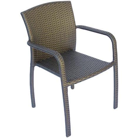 Set de 4 sillas Reims de jardín apilables en ratán | Rattan