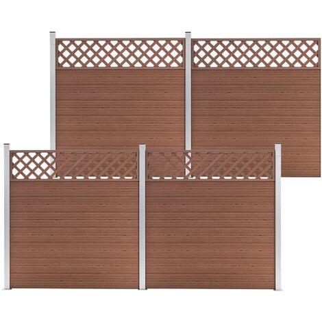 Set de 4 vallas cuadradas WPC marrón 699x185 cm