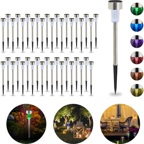 Set de 40 lámparas solares, LED impermeables, Iluminación de exterior, Acero inoxidable, Cambio de color, Plateado