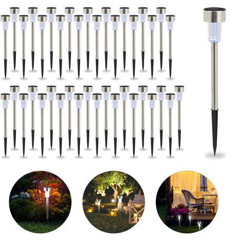 Set de 40 lámparas solares, LED impermeables, Iluminación de exterior, Acero inoxidable, Luz blanca, Plateado