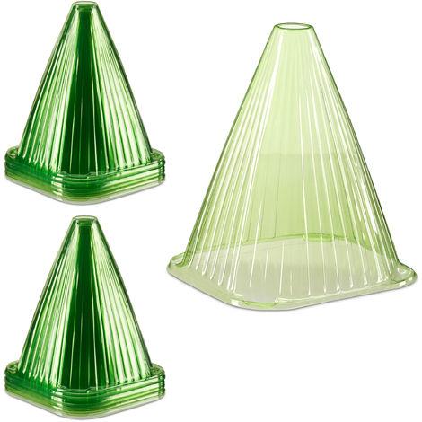 Set de 48 mini invernaderos para plantas, Protección contra el frío, caracoles y aves, PVC, Verde