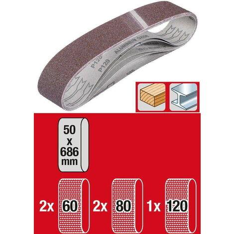 Set de 5 bandes à poncer 50 x 686 mm