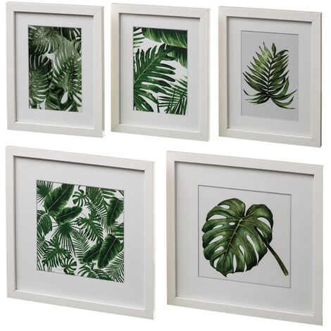 "main image of ""Set de 5 cuadros portafotos de madera blancos"""