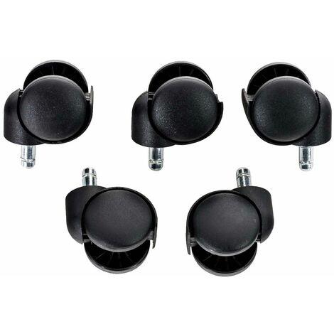 Set de 5 roulettes en plastique pour fauteuil de bureau noir