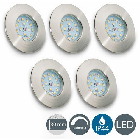 Set de 5 spots LED à encastrer spéciale salle de bain IP44 spots encastrables dimmables ultra-plats