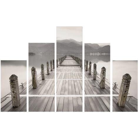 """main image of """"Set de 5 toiles imprimées Promenade 150cm x 100cm Gris, Beige"""""""